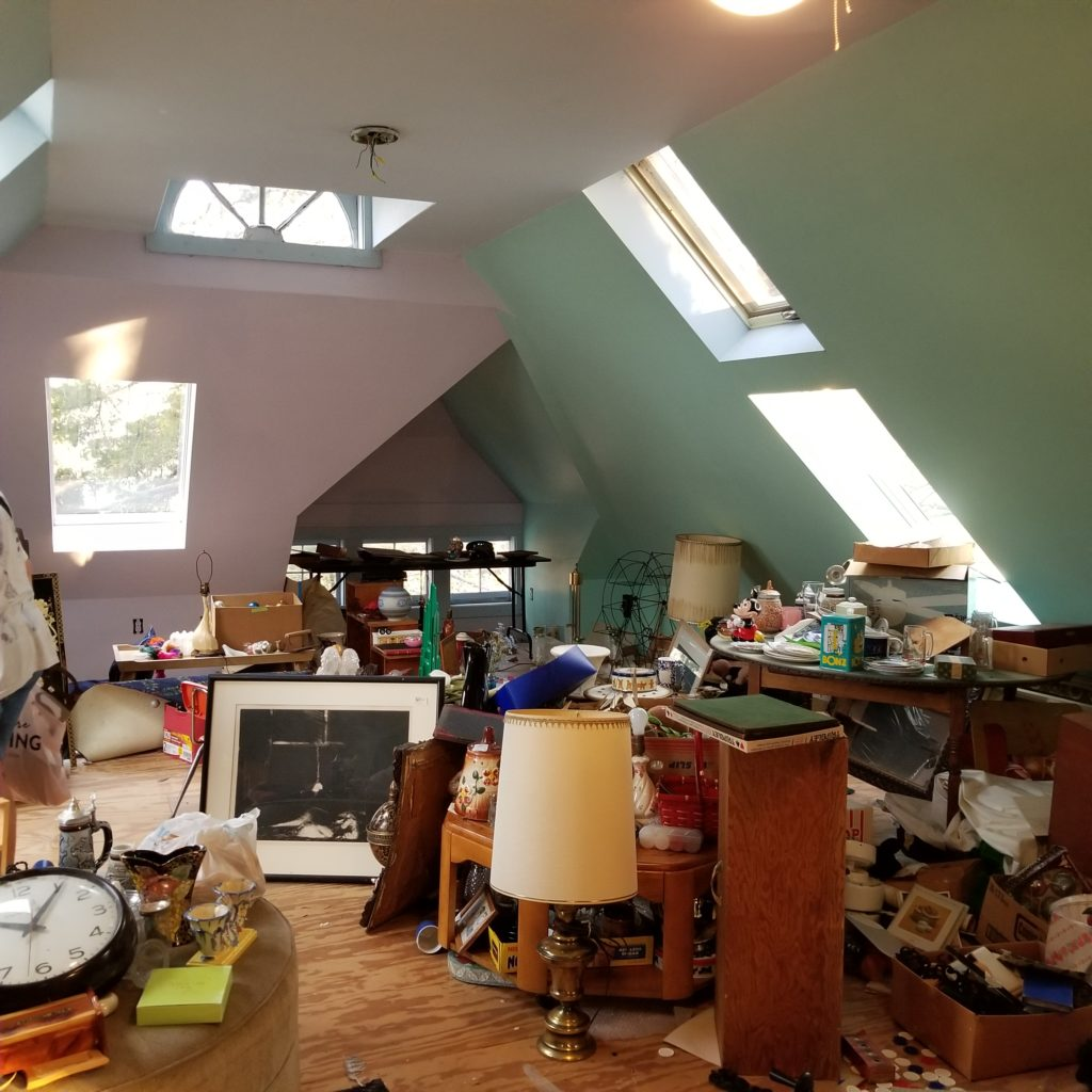 A beautiful attic at a very cluttered estate sale. - Retell Seller