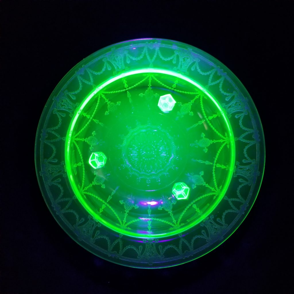 Uranium Glass: All you need is a UV flashlight to discover these cool beauties.