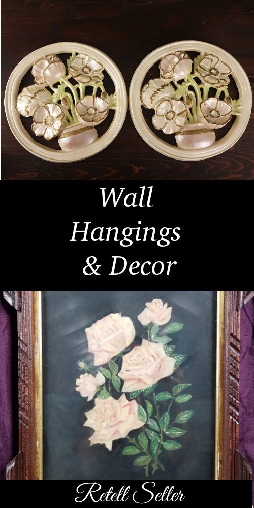 In need of some vintage wall decor? If you like rose paintings, plasterware, wolves, or wooden shelves. Check out what I've got in store.
