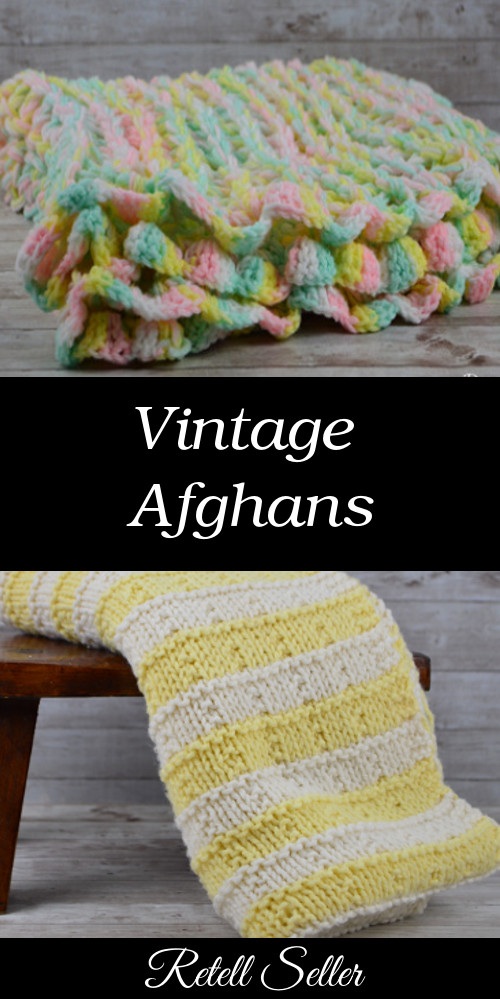 Beautifully colored vintage afghans for sale - Retell Seller #afghans #vintageafghans #babyblanket #lapblanket