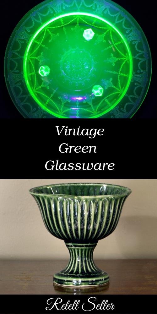 Vintage Green Glassware - Retell Seller #greenglass