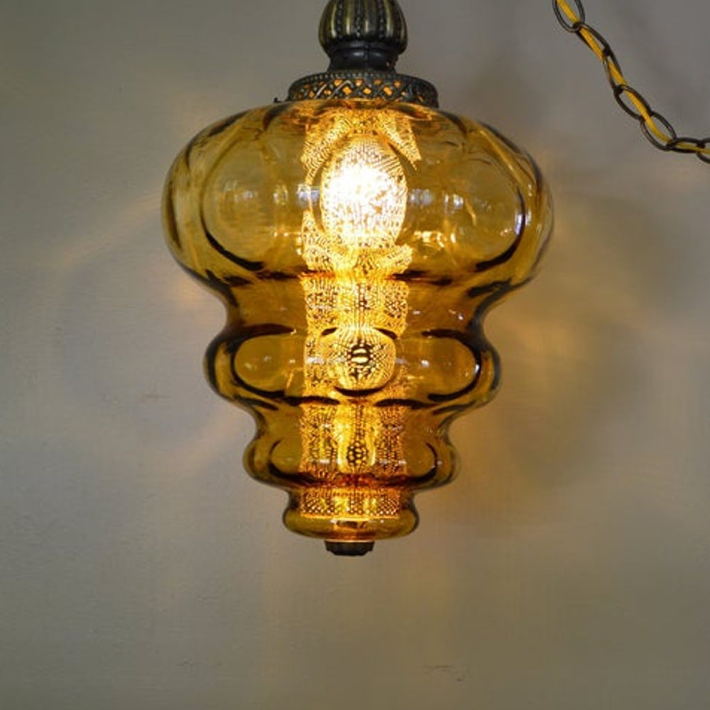 Vintage 70s Yellow Bubble Swag Lamp - Retell Seller