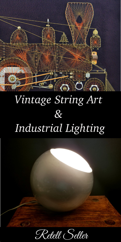 Loving this vintage string art along with some great industrial lighting. It all has a slightly steampunk feel to them.