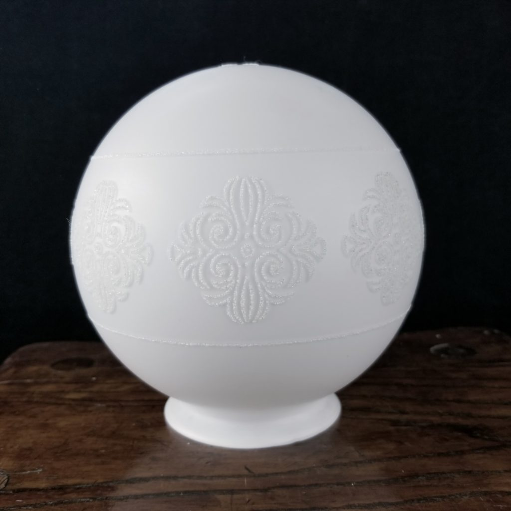 White glass ceiling fixture globe with raised floral designs. - Retell Seller