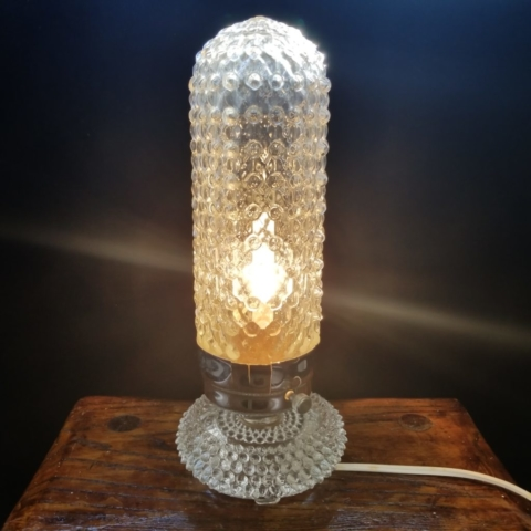 Clear Glass Hobnail Bullet Torpedo Shaped Boudoir Nightstand Bedside Lamp