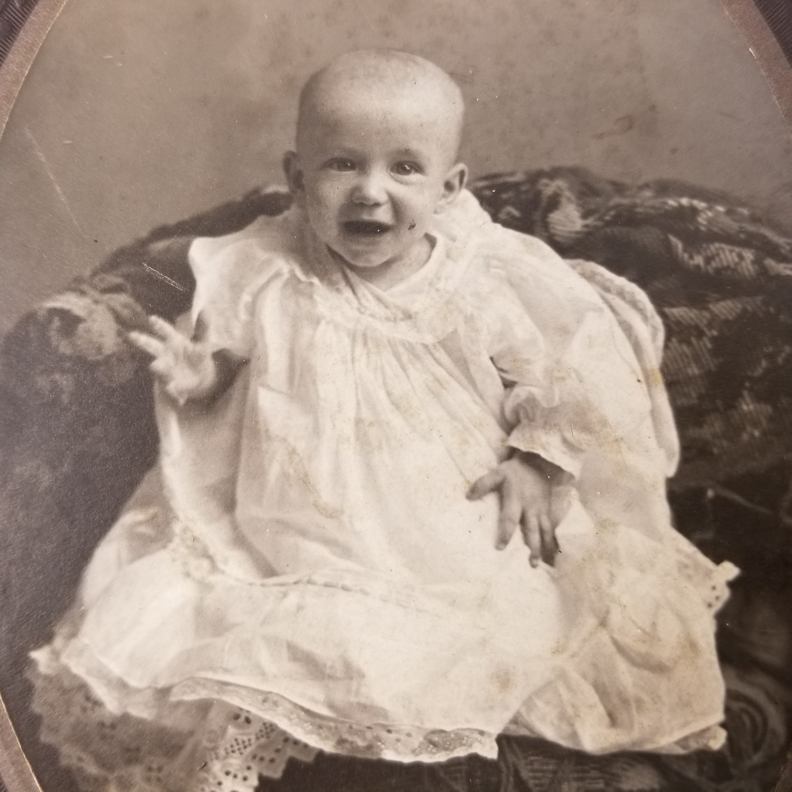 Old Antique Cabinet Photo Card Happy Smiling Baby White Dress Black & White Photograph Potomac, IL