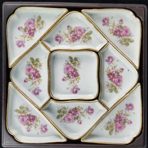 9 Piece Set Ceramic? Porcelain? Nut Candy Dishes Trinket Jewelry Holder Florals