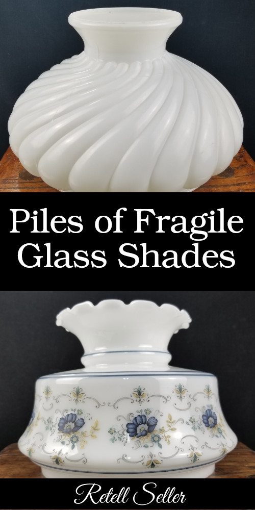 I've said it before the messier the thrift store, estate sale, or auction, the better. That is until you get to the glass section. It can be terrifying. I have to say though, I've never seen anything quite like this. -  Retell Seller